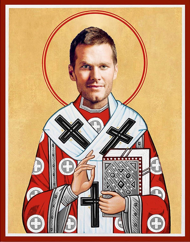 Tom Brady New England Patriots Celebrity Prayer Candle 100/% Handmade in USA Novelty Celebrity Patriots Super Bowl Gift 8 inch Glass Prayer Votive Funny Saint Candle