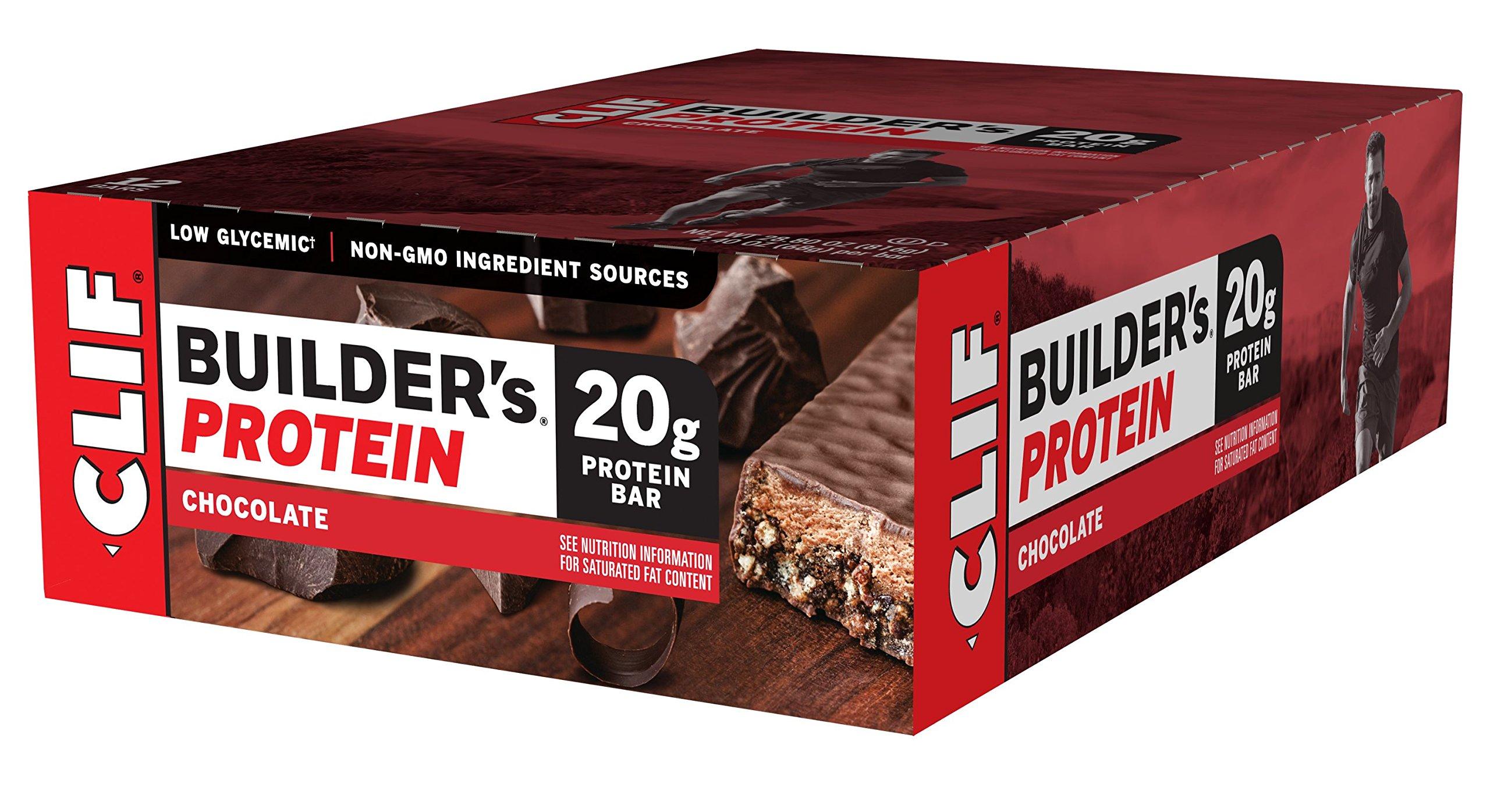 CLIF BUILDER'S - Protein Bar - Chocolate - (2.4 Ounce Non-GMO Bar, 12 Count)