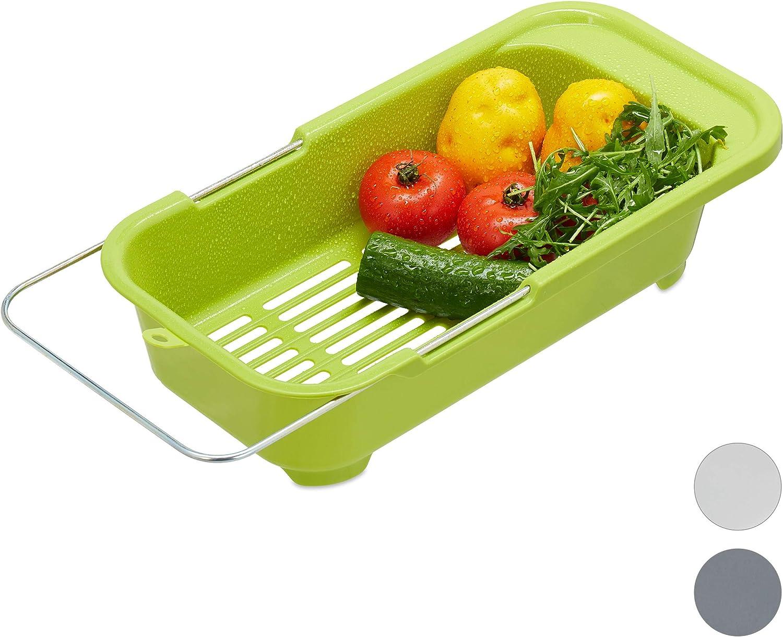 Relaxdays Escurridor Fregadero, Colador Cocina, Fruta y Verdura, Ajustable, Plástico - Hierro, 1 Ud, hasta 57 cm, Verde, 10027970_53