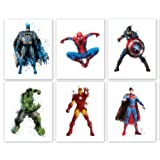"Amazon Price History for:Superhero Collector Prints - Set of Six Photos (8"" x10"") Unframed - Batman, Spiderman, Captain America, Hulk, Iron Man, and Superman - Great Gift for Boy's Room Decor"