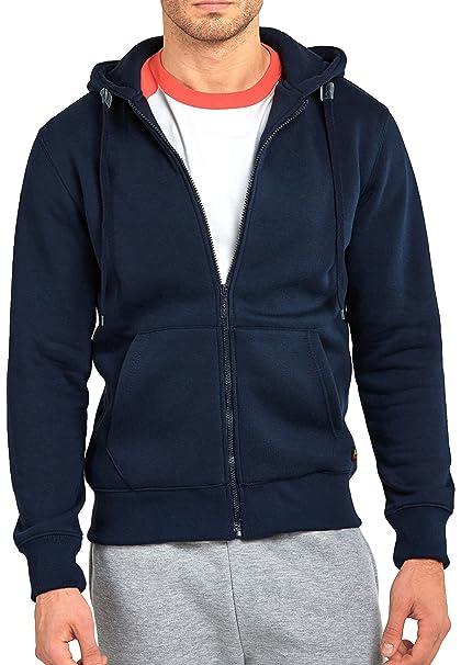 f9666c39d86b ToBeInStyle Men s Long Sleeve Kangaroo Pocket Zip Up Hoodie - Navy - Medium