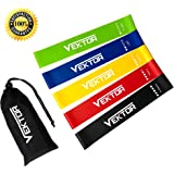 Exercise Resistance Bands by Vektor - Workout Loop Bands for Legs Butt Glutes Stretching Yoga Crossfit Physical Therapy Fitness Gym Pilates Home Training for Women Men - Set of 5 with Carry Bag