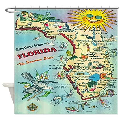 CafePress Vintage Florida Greetings Map Decorative Fabric Shower Curtain 69quot