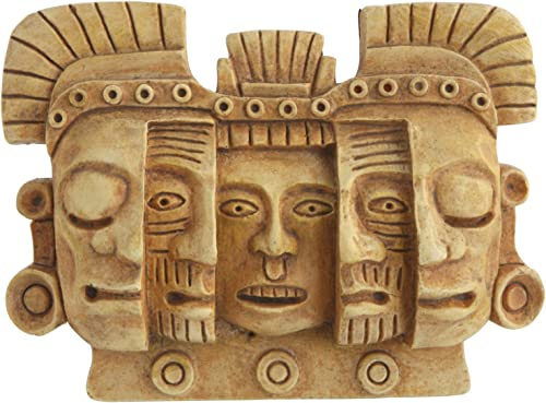 Culture Spot Mayan Mask of Death and Rebirth Human Evolution Wall Art Relief Wall Hanging Sculpture Stone Finish Ready to Hang Colombian Design Small