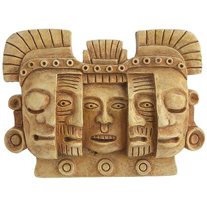 Maya máscara de muerte y renacimiento pared alivio, pequeño