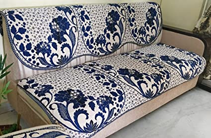 Griiham Premium Reversible 5 Seater Blue Off White Sofa Cover with Gold n Silver Thread (3+1+1) 90% Cotton 10% Polyster