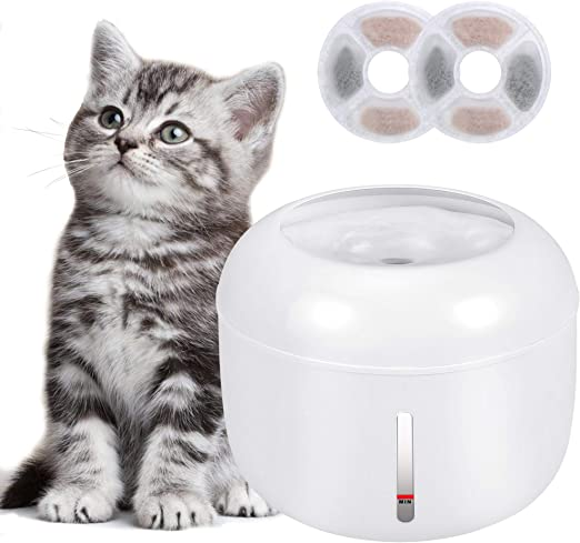 Bebedero Gatos, Fuente silencioso para Gatos 2.5L Bebedero Automático Fuente de Agua para Mascotas Gatos Perros, Dispensador de Agua Automática para Mascotas con 2 Filtros de Carbón Activado: Amazon.es: Productos para mascotas