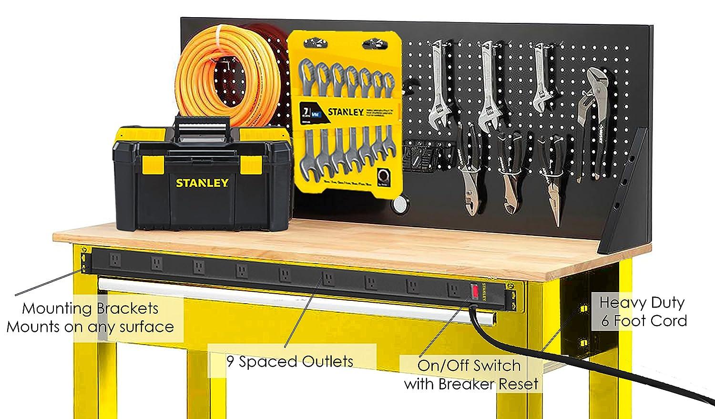 Stanley 31610 SurgeMax Pro 9 Outlet Metal Surge Protector Black Stanley Hardware
