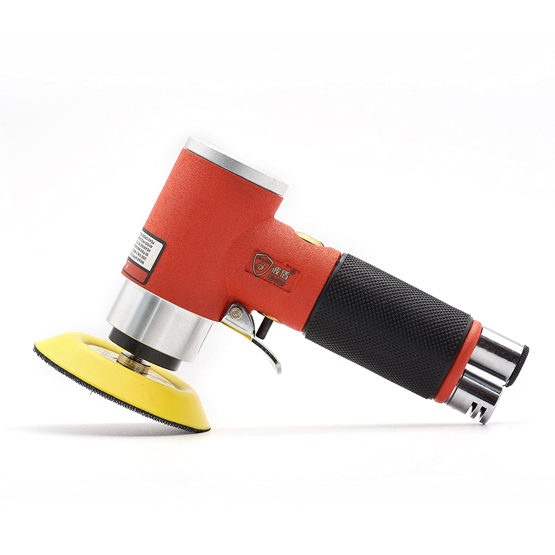 Mini Air Sander 3 Inch Dual Action Orbital Pneumatic Polisher for car Sanding Tool (3 inch air sander, Orange)