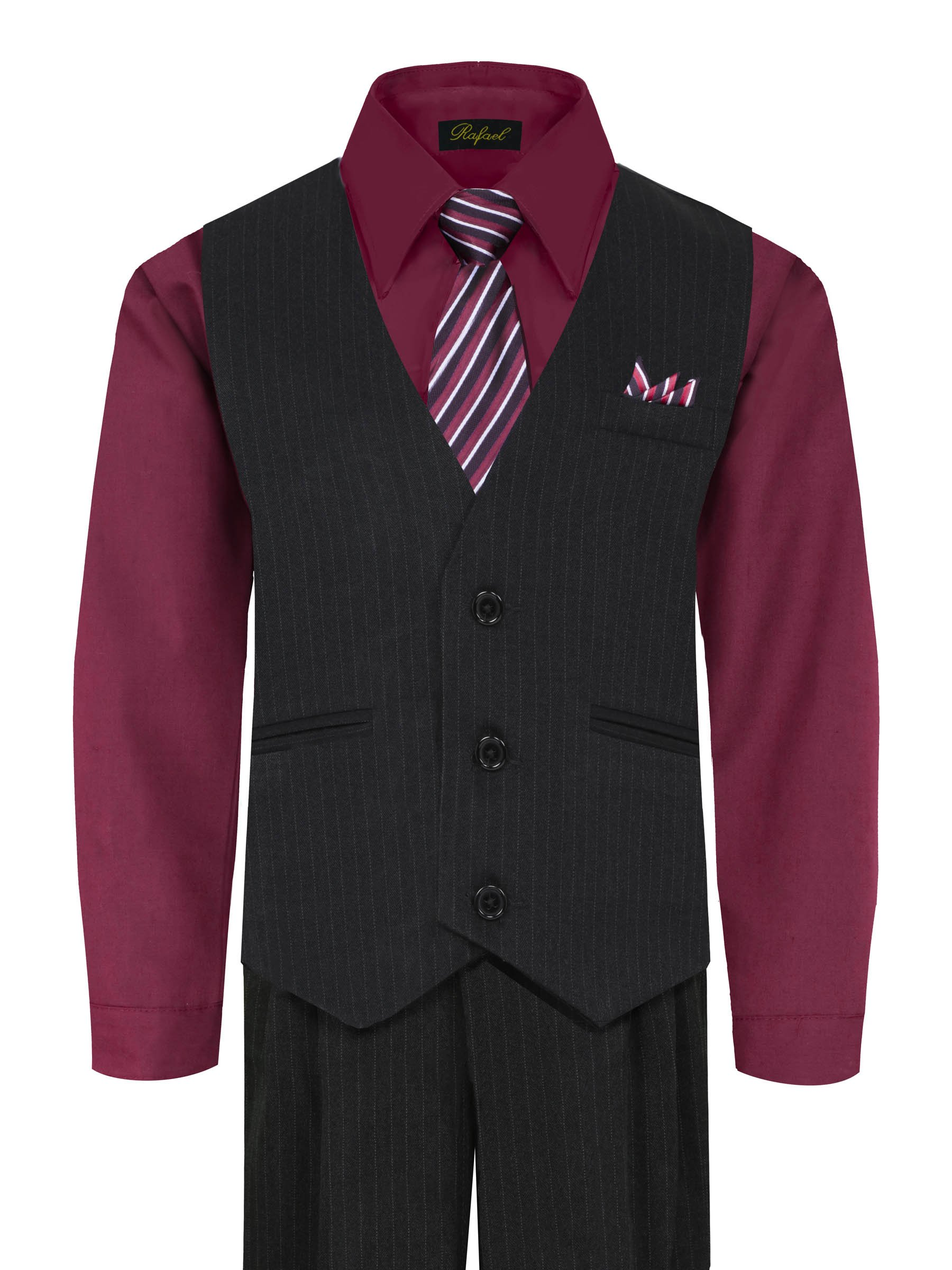 Boy's Vest and Pant Set, Includes Shirt, Tie and Hanky - BURGUNDY 4T