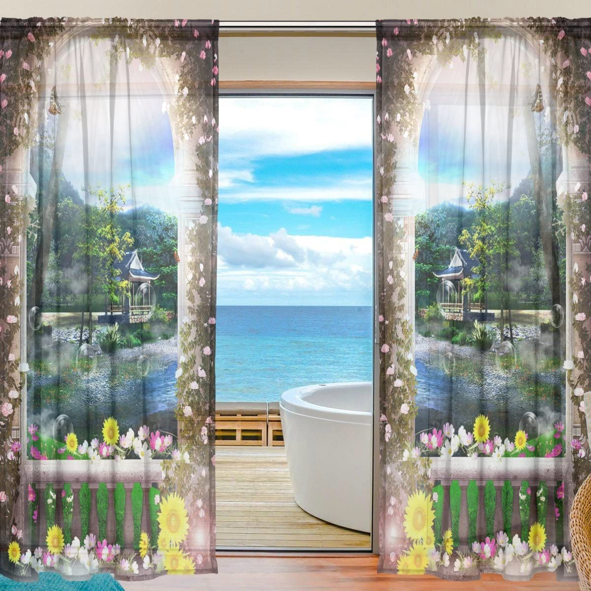 ABLINK Dream Gate Fabric Sheer Decor Voile Tulle Window Door Curtains for Bedroom Living Room Gauze Curtains Transparent Curtain 55 W X 78 L