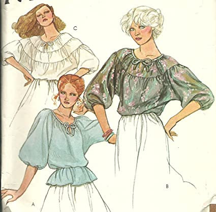 Amazon.com: McCall\'s vintage sewing pattern 6418 peasant blouse - Size S