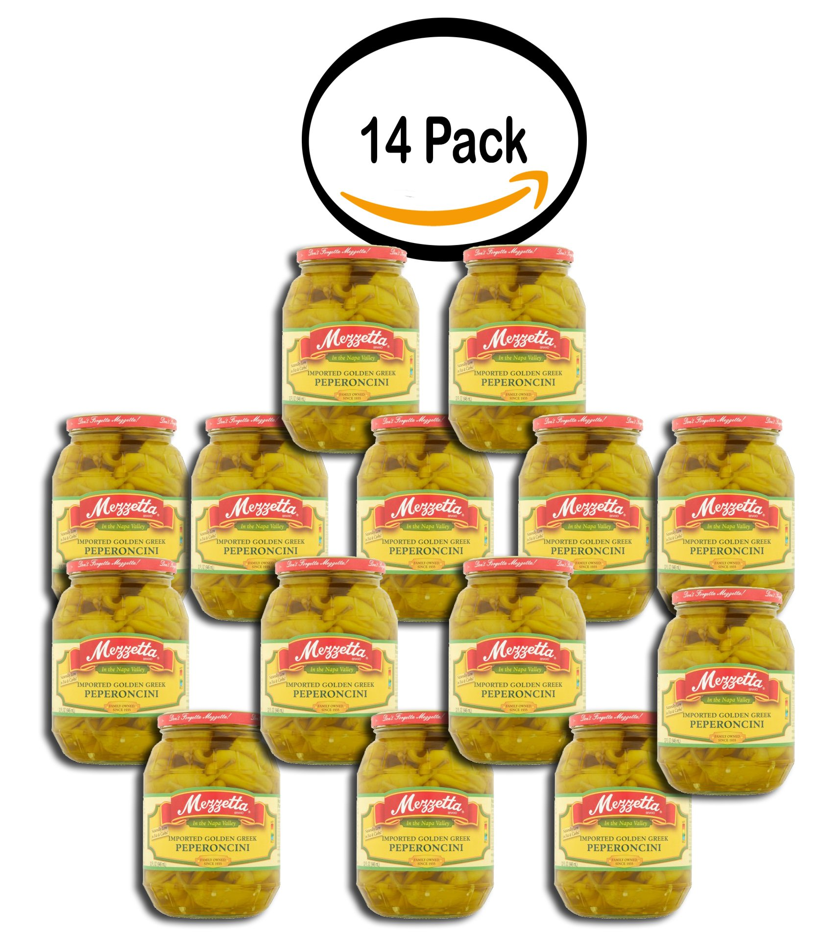 PACK OF 14 - Mezzetta Imported Golden Greek Peperoncini, 32.0 FL OZ by Mezzetta