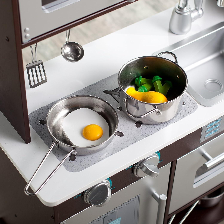 Amazon.com: KidKraft Espresso Toddler Play Kitchen with Metal ...
