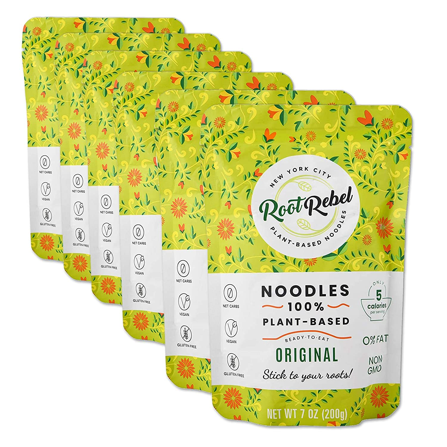 Root Rebel 100% Plant-Based Shirataki Style Noodles 6 Pack, 0 Carbs, Low Calorie, Vegan, Gluten-Free, Odorless, Ready in 2 Minutes, No Need to Rinse!