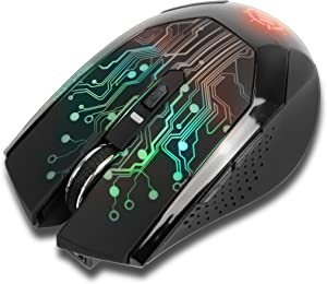 ENHANCE LED Wireless Gaming Mouse 2.4ghz - 6 Button , 3 Adjustable DPI Settings , Color Changing Breathing Lights & Compact Ergonomic Design - 7 Day Battery Life Included Charging Cable