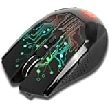 ENHANCE GX-M1 Portable Wireless Gaming Mouse with 6 Buttons , LED Lighting , Adjustable DPI , & Compact Ergonomic Design - 7 Day Battery Life Included Charging Cable