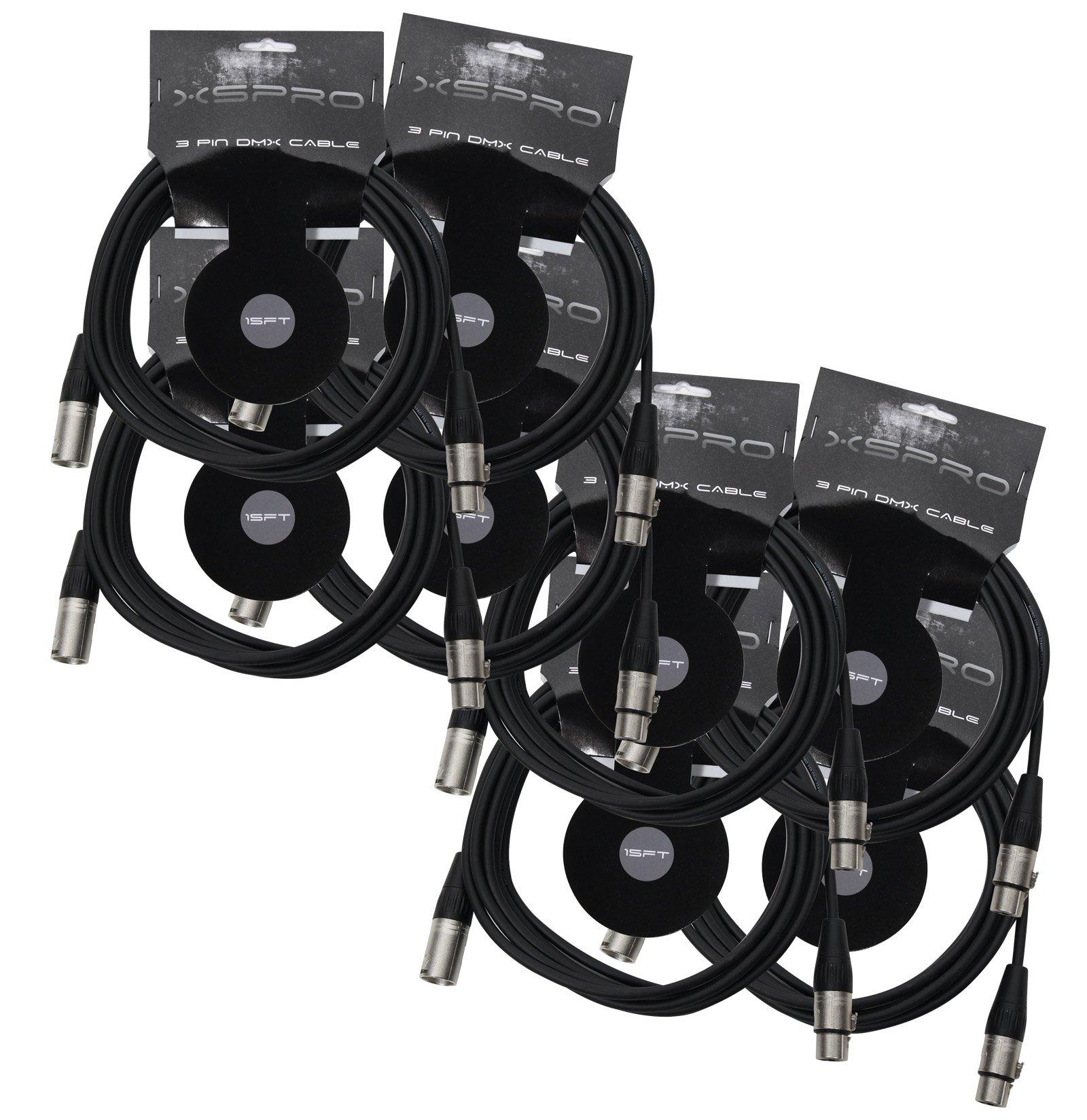 XSPRO XSPDMX3P15 3 Pin DMX Light Cable 15' - 8PAK by XSPRO