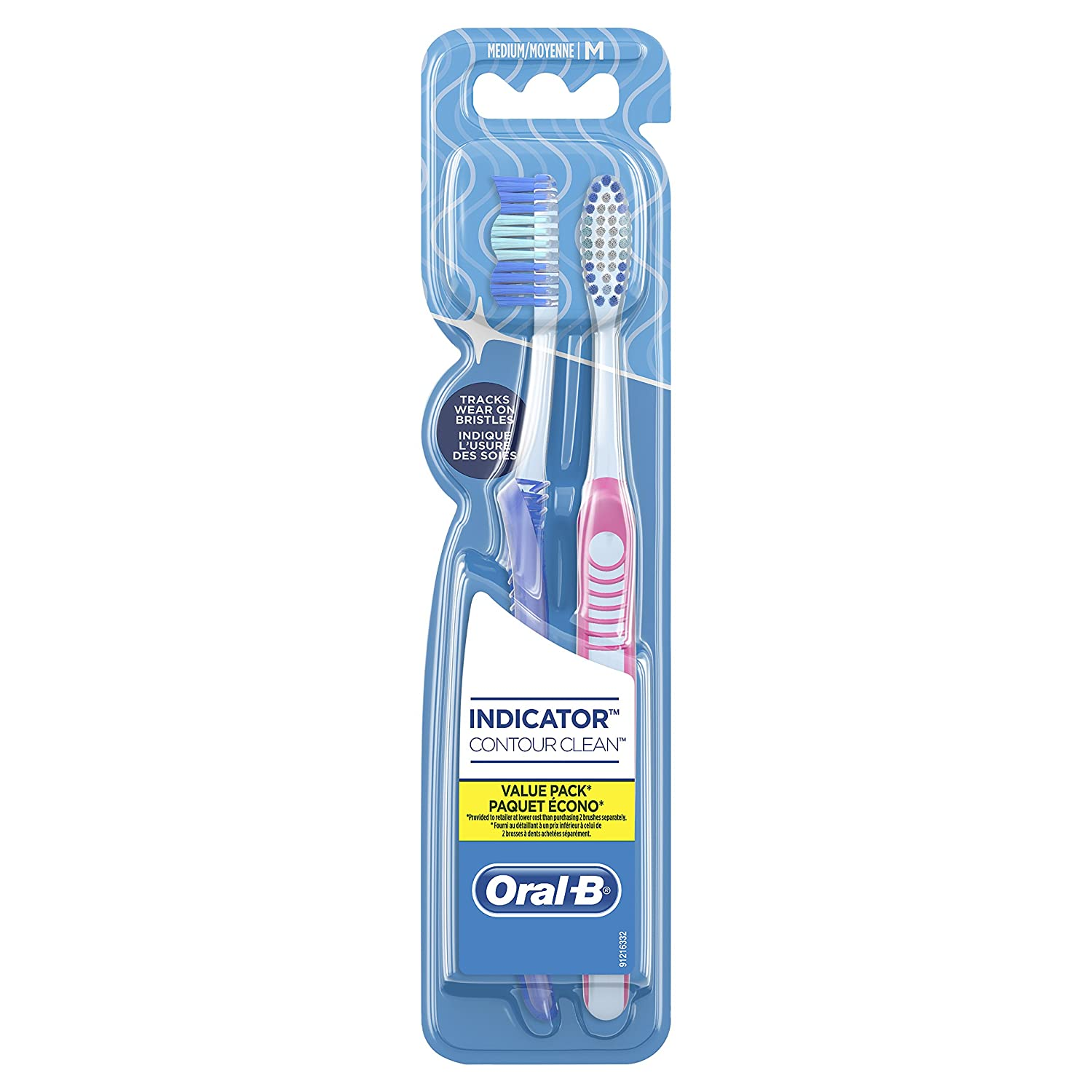 Oral-B Indicator Contour Clean Manual Toothbrush, 40 Med, 2 Count Procter and Gamble