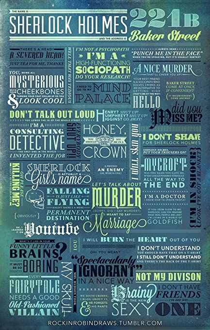 Sherlock Holmes Motivatioinal Quotes Poster Print 12x18 Rolled