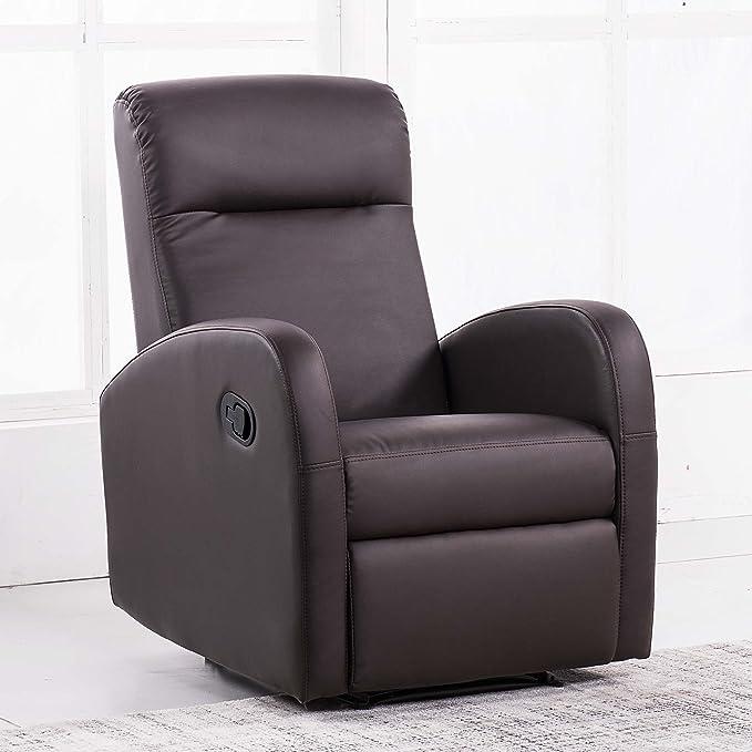 Adec - Sillon Relax tapizado Home, Sillon de Descanso, Sillon reclinable, Color Chocolate, Medidas: 70 cm (Largo) x 100 cm (Alto) x 97 cm (Fondo)