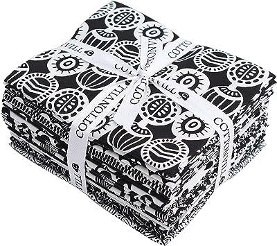 Cottonvill Mallangluna Black White Collection Precut Fat Quarter 14pcs Cotton Quilting Fabric