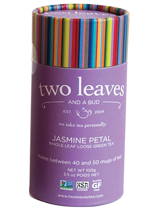 Amazon.com : Two Leaves and a Bud Jasmine Petal Green, Loose Tea Cylinder, 3.5 Ounce : Herbal Teas : Grocery & Gourmet Food