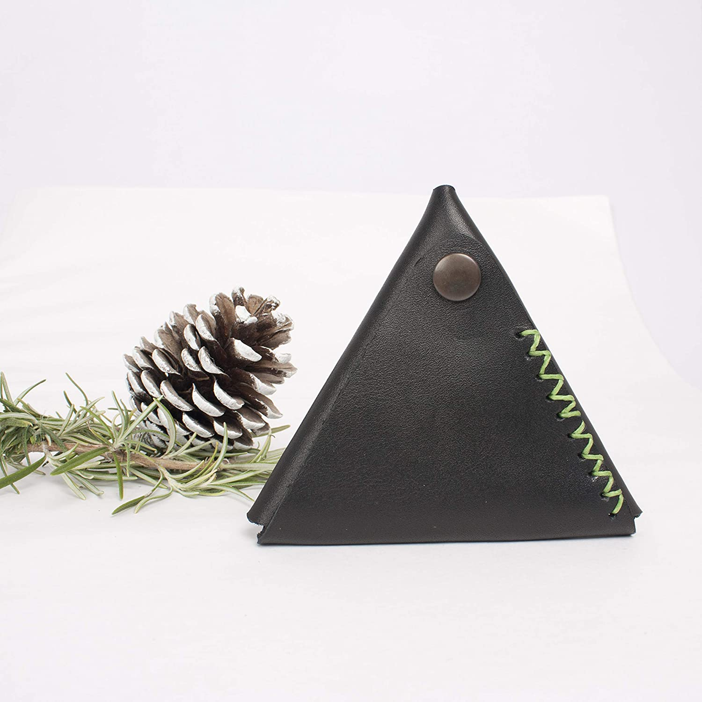Monedero de cuero piramide, monedero triangulo piel ...