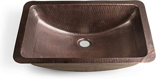 Monarch Abode 17095 Pure Copper Hand Hammered Venetian Dual Mount Sink 21 inches , Rectangle