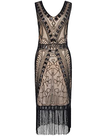 1f12b2e8b8 kayamiya Women's 1920s Art Deco Beaded Sequin Inspired Fringe Great ...