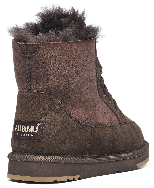 AU&MU Women's Winter Full Fur Sheepskin Suede Winter Women's Snow Boots B073CYGR5S 8 M US|Chocolate 1 8ef526
