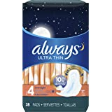 Always Sanitary Pads, Ultra Thin Without Wings, Regular Absorbency, Feminine Pads, 44 Count (Pack of 3)(Packaging artwork may vary) Size 4 - Overnight Absorbency Size 4 - Overnight Absorbency 84