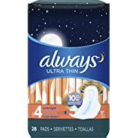 Always Ultra Thin Size 4, Overnight Feminine Pads with Wings, Unscented, 28 count - Pack of 3 (84 Total Count) (Packaging May Vary)