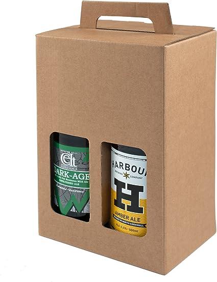 Pack de 10 – 4 cajas de regalo para botellas de cerveza de 500 ml (marrón liso): Amazon.es: Oficina y papelería
