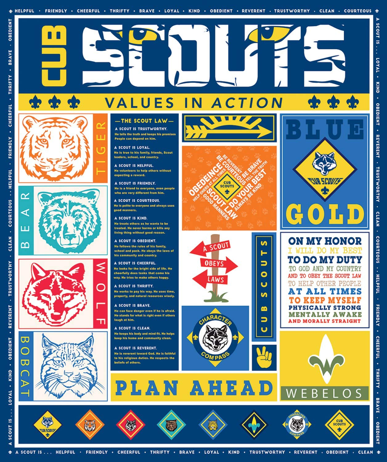 Cub Scout Panel from Riley Blake Designs 100% Cotton Quilt Fabric PD7206R - 36'' x 42'' by Riley Blake Designs