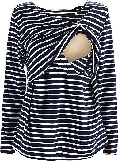UTOVME Mujeres Camiseta de Lactancia Premamá Camisa de Maternidad Ropa de Enfermería, Rayado de Mangas Largas: Amazon.es: Ropa y accesorios