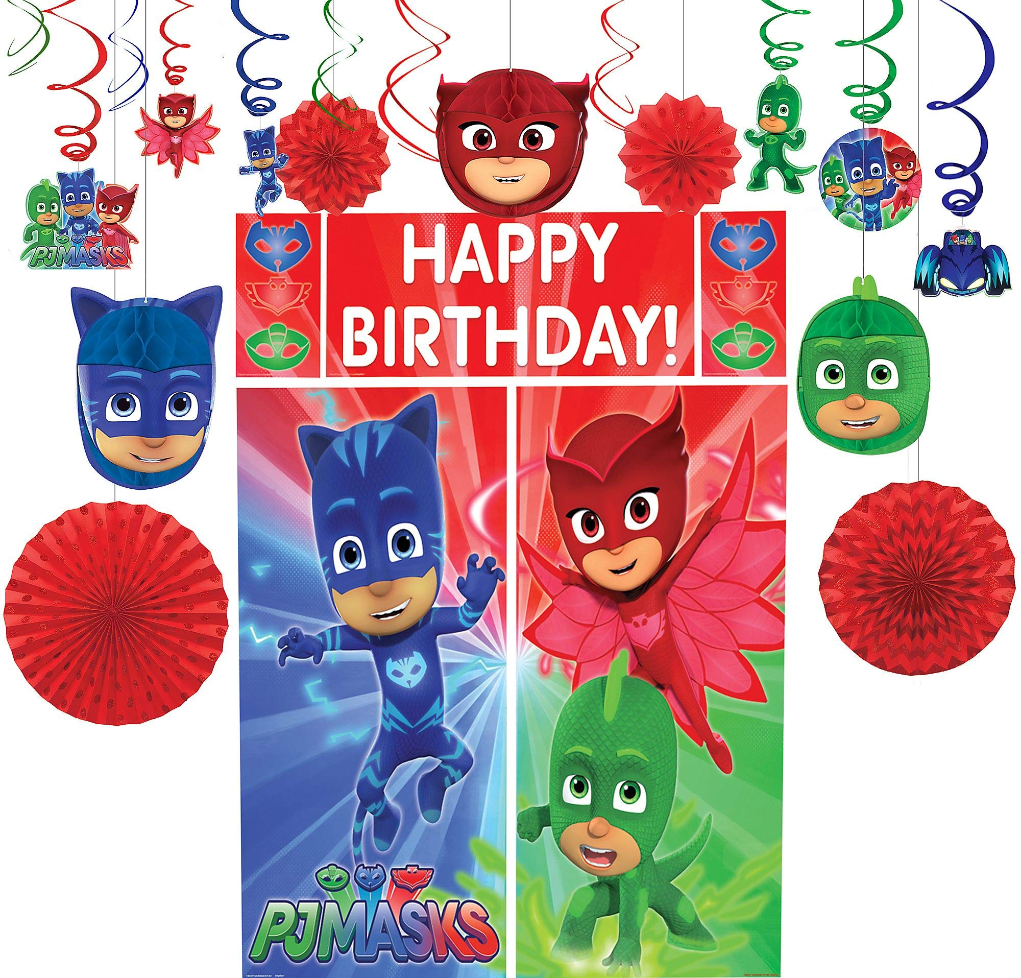 Party City PJ Masks Decorating Supplies, Include Honeycombs, Hanging Swirls and Fans, and a Photo Booth Set with Props