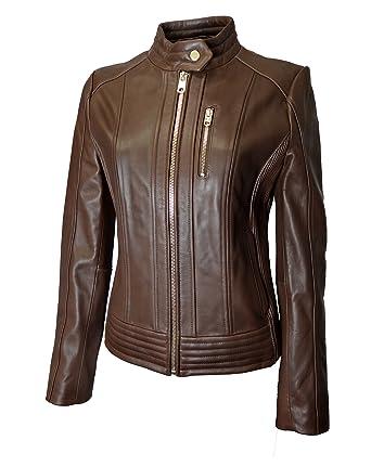 fed771c8f58e Michael Kors Snap Collar Moto Leather Jacket at Amazon Women s Coats Shop