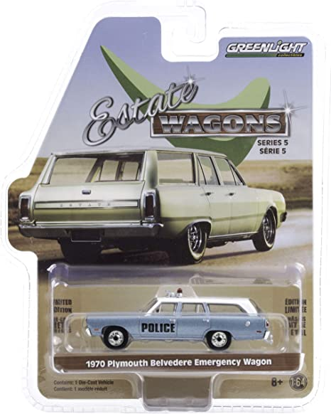 1970 Plymouth Belvedere Emergency Wagon Police Pursuit Blue with White Top Estate Wagons Series 5 1/64 Diecast Model Car by Greenlight 29990 C