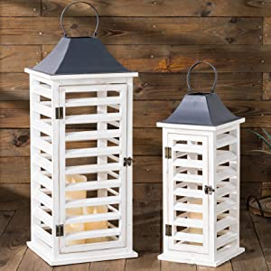 Glitzhome 2 Pack Decorative Lanterns Farmhouse Wood Metal Candle Lanterns Vintage Distressed Hanging Candle Holders with Shutter Design for Table Mantle Entryway, Wash White, No Glass