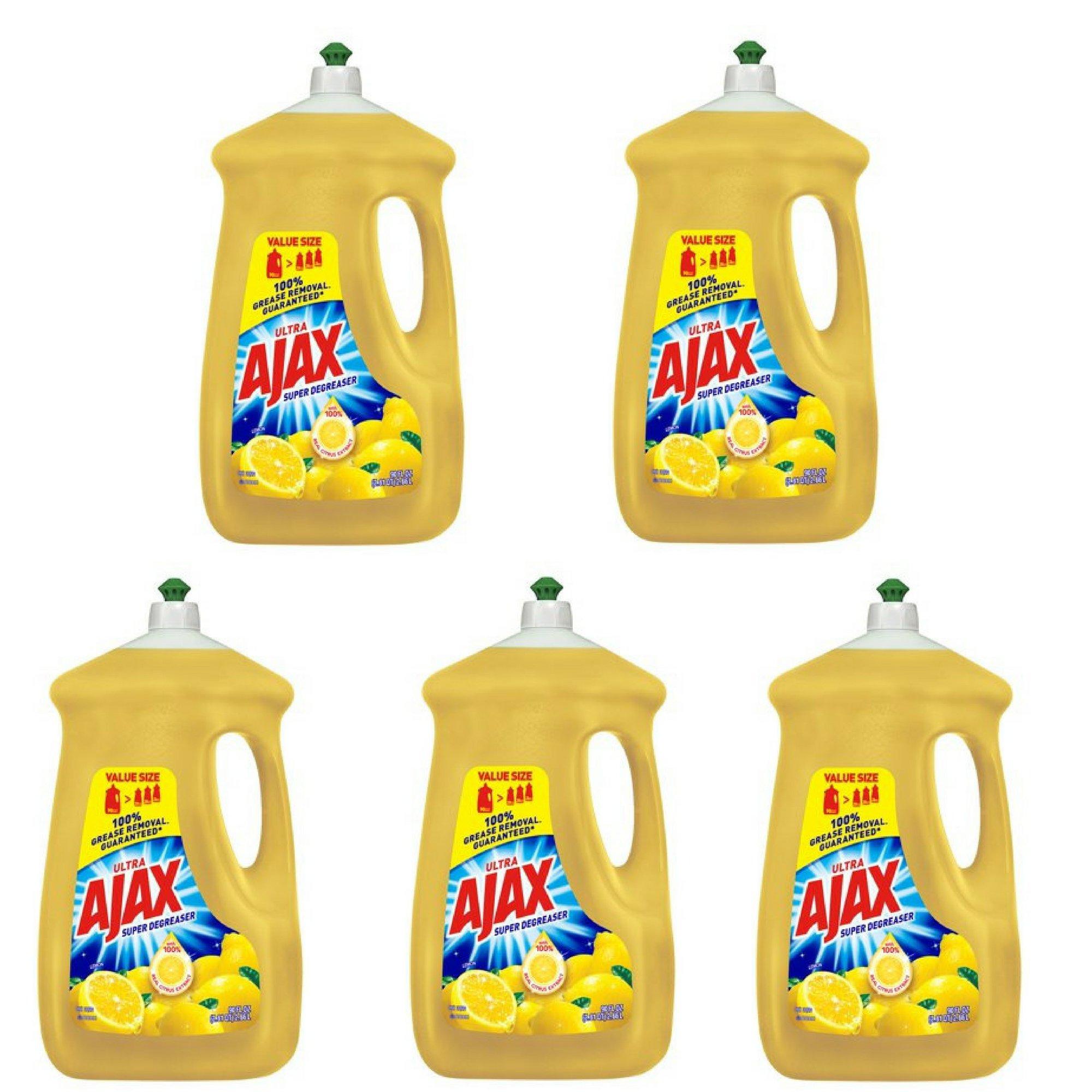 Ajax Ultra Triple Action Liquid Dish Soap, Lemon 90 fl oz - 5 Pack