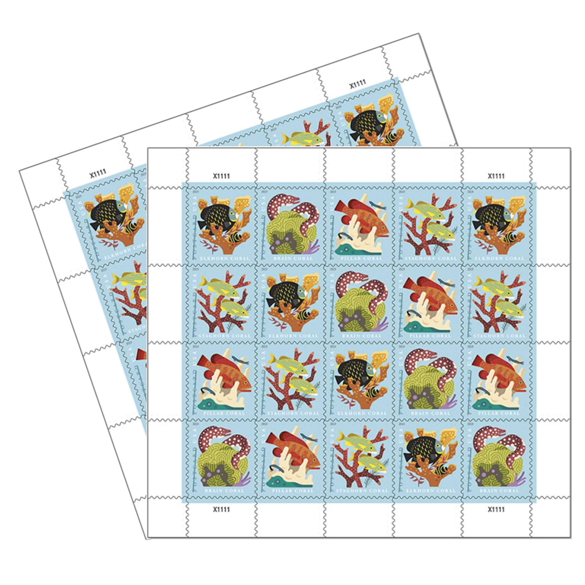 Coral Reefs Postcard 2 Sheets of 20 US First Class Forever POSTCARD Postage Stamps Sea (40 Stamps) by USPS