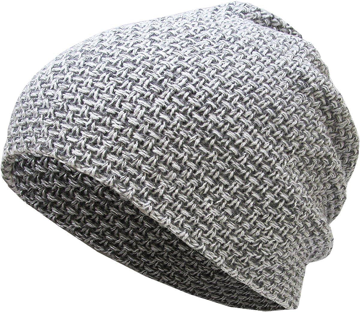 13eb05898f6 Amazon.com  KBW-251 LGY Waffle Knit Slouchy Beanie Baggy Style Skull Cap  Winter Unisex Ski Hat  Clothing