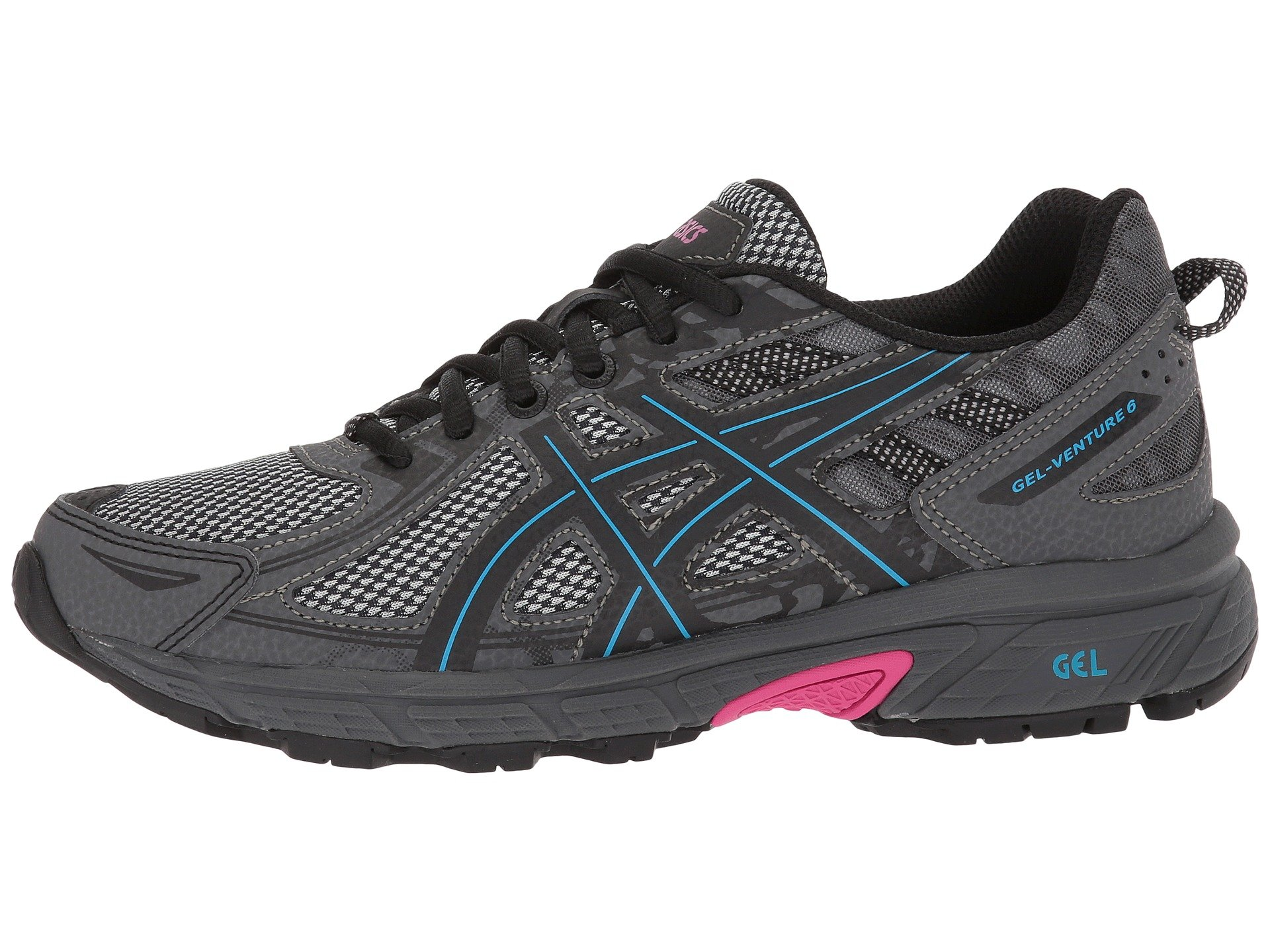 ASICS Womens Gel-Venture 6 Black/Island Blue/Pink 5 B US by ASICS (Image #6)