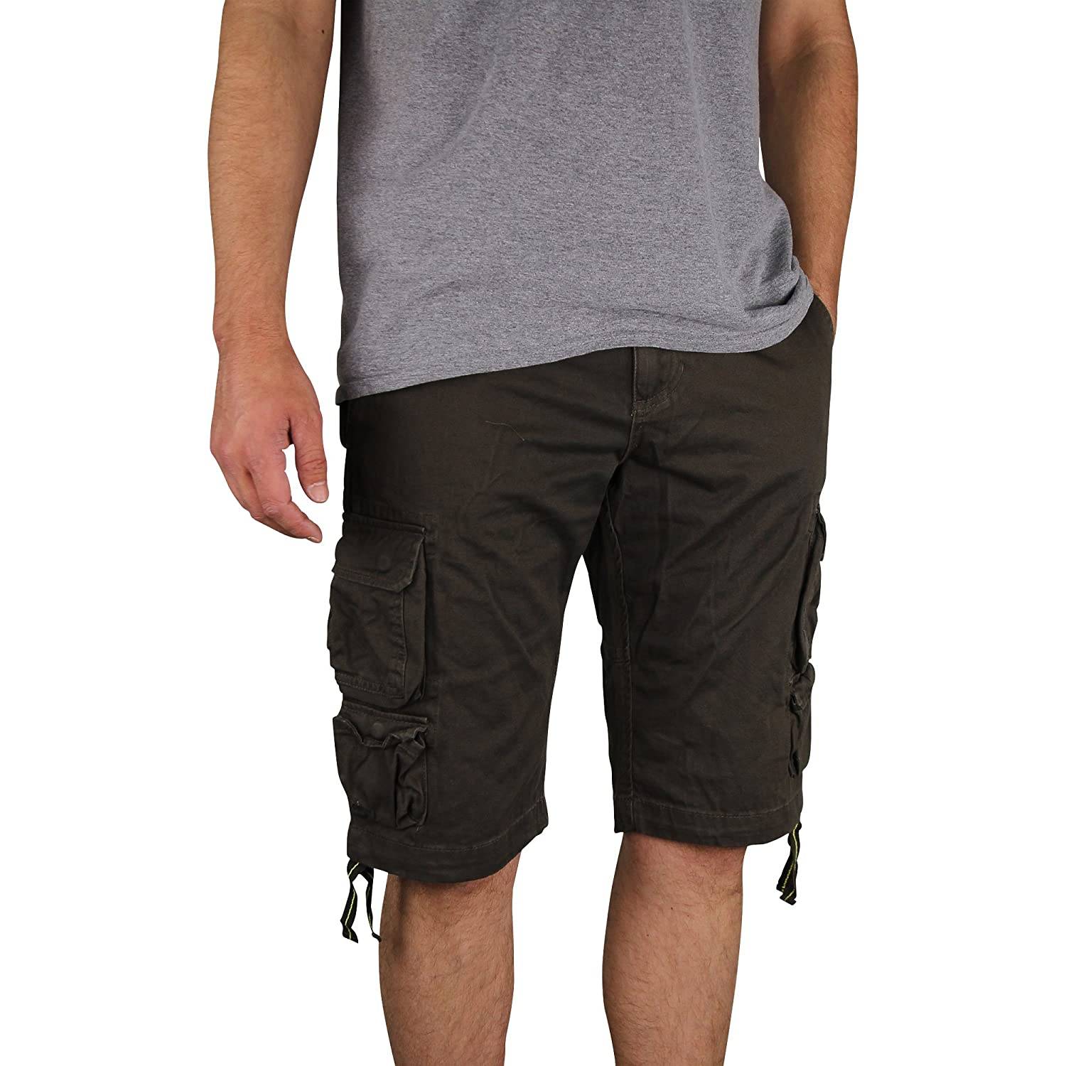 Men's Gray Earth Long Lightweight Cargo Shorts