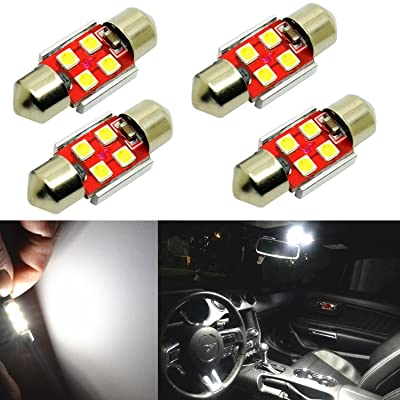 "Alla Lighting 800 Lumens DE3175 DE3021 DE3022 LED Bulb CAN BUS Xtreme Super Bright 6000K Xenon White 31mm(1.25"") 3030 SMD Interior Festoon Dome/Map/Trunk/Glove Box/Door Lights Replacement(Pack of 4): Automotive"