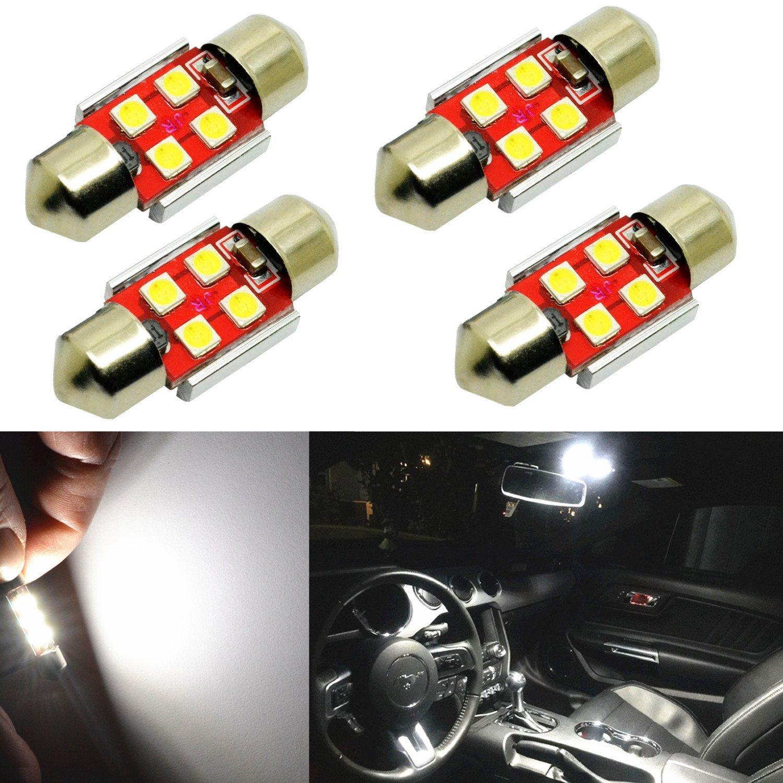 "Alla Lighting 800 Lumens DE3175 DE3021 DE3022 LED Bulb Super Bright 6000K White 31mm(1.25"") High Power 3030 SMD LED Bulbs for Interior Festoon Dome or Map Light Lamp Replacement(Pack of 4)"