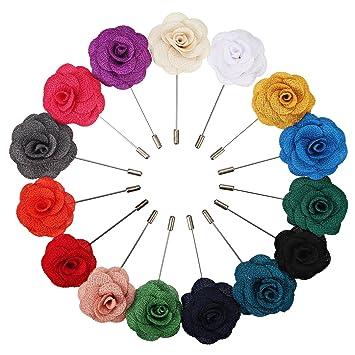 15 Pieces Boutonniere Revers Pour Homme Epinglette Fleur Broches De