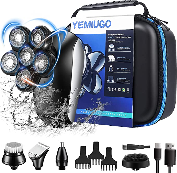 YEMIUGO Head Shavers for Bald Men 5 in 1 USB Rechargeable Electric Freedom Grooming Shaver Kits, IPX7 Full Waterproof 6D Electric Razor, Men