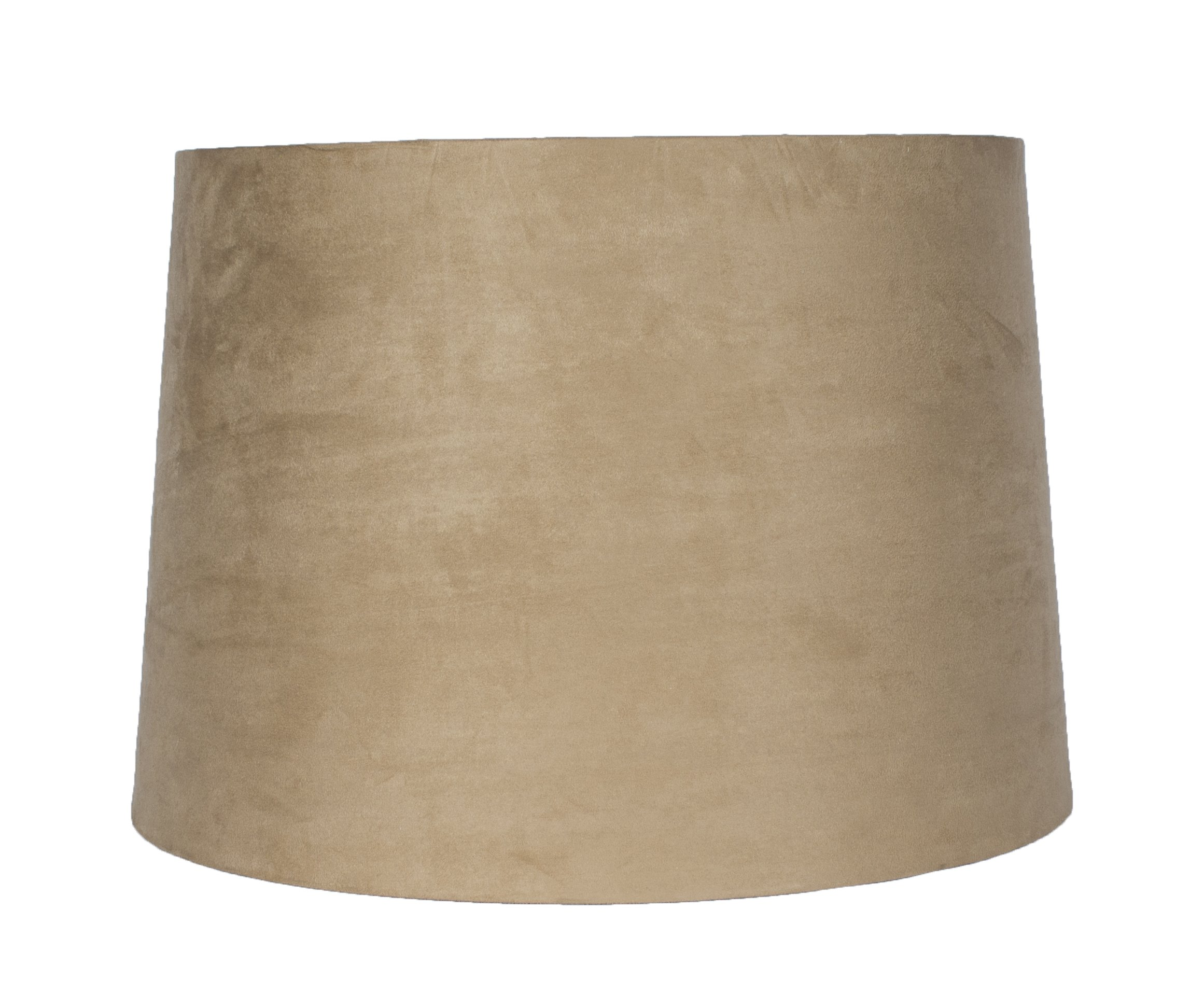 Urbanest French Drum Suede Lampshade, 14-inch by 16-inch by 11-inch, Spider Fitter, Tan